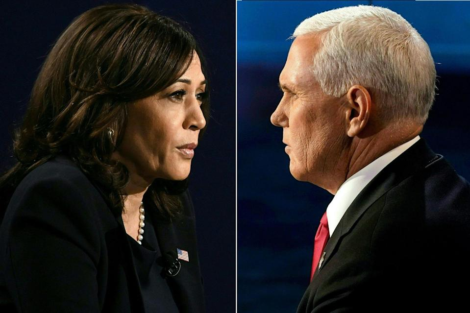 Mike Pence (right) and Kamala Harris went head-to-head for the only vice presidential debate of the US election debate: POOL/AFP via Getty Images