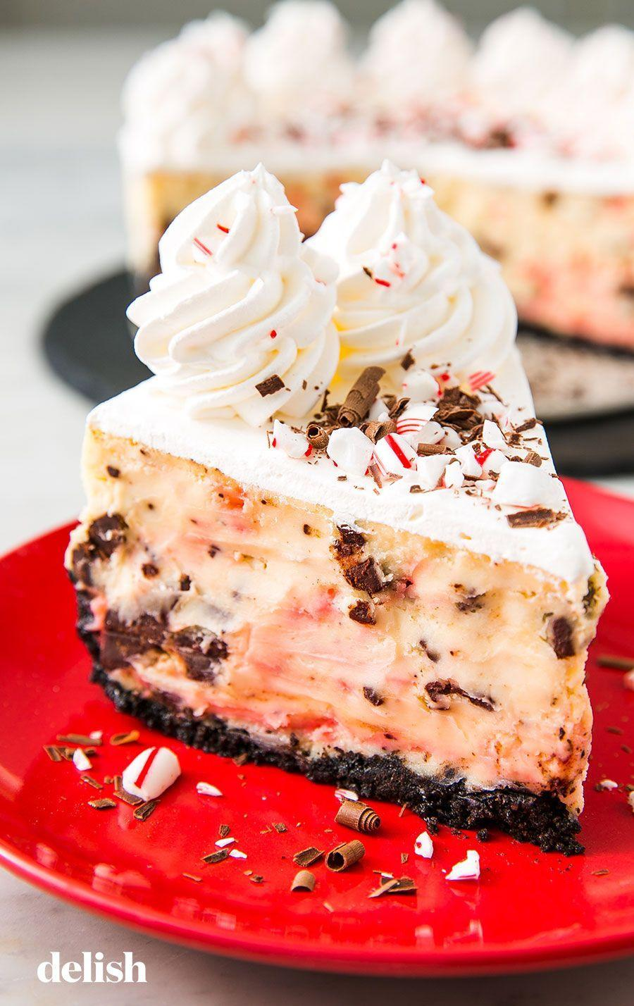 """<p>Winter is the BEST season for peppermint. </p><p>Get the recipe from <a href=""""https://www.delish.com/holiday-recipes/christmas/a25441818/peppermint-bark-cheesecake-recipe/"""" rel=""""nofollow noopener"""" target=""""_blank"""" data-ylk=""""slk:Delish"""" class=""""link rapid-noclick-resp"""">Delish</a>. </p>"""