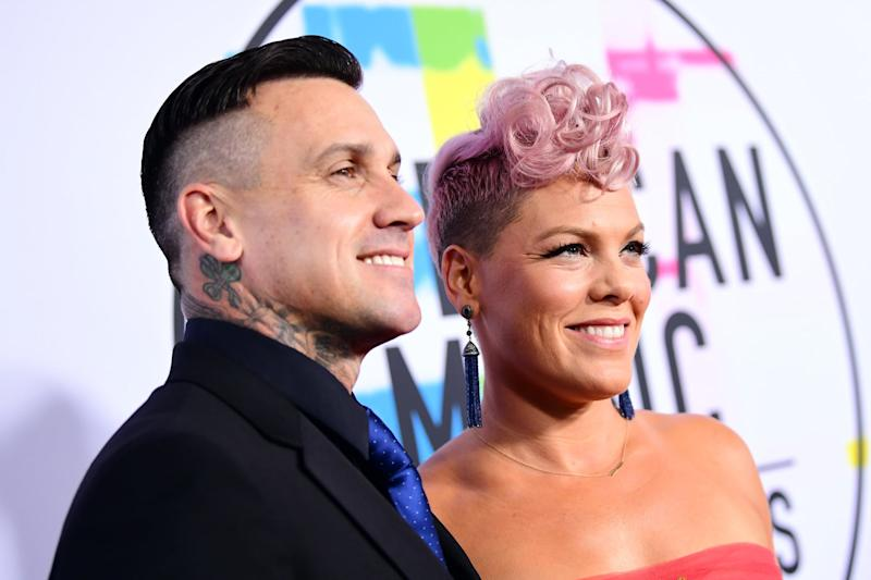 LOS ANGELES, CA - NOVEMBER 19: Carey Hart (L) and Pink attend the 2017 American Music Awards at Microsoft Theater on November 19, 2017 in Los Angeles, California. (Photo by Emma McIntyre/AMA2017/Getty Images for dcp)