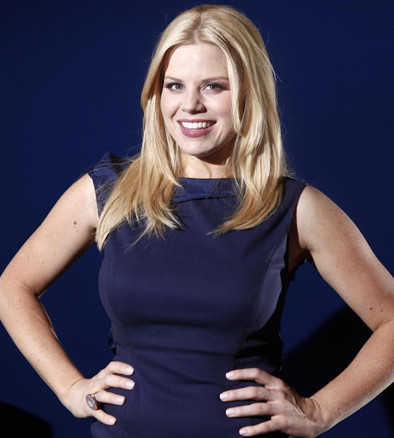 "File- In this Feb. 27, 2012 file photo, actress Megan Hilty poses for a portrait in New York. Hilty wrapped her second, and possibly final, season of the TV musical ""Smash."" A day later, she sang to a sold-out house, marking her Carnegie Hall headlining debut. Since early this week, she's been racing around New York, getting the word out of her first solo album, ""It Happens All the Time,"" which was released March 12, 2013.  (AP Photo/Carlo Allegri, File)"