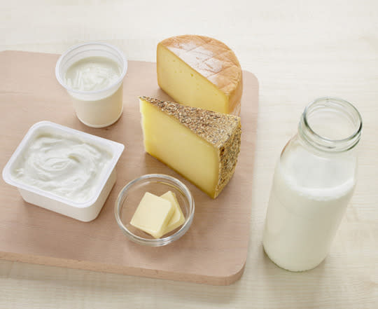 "<p>Bad news for cheese lovers: Dairy products have long been one of the worst offenders when it comes to acne. ""Hormones found in dairy are often the culprit of breakouts,"" nutritionist <a href=""http://nutritiouslife.com/skin-saving-eating/"" rel=""nofollow noopener"" target=""_blank"" data-ylk=""slk:Keri Glassman, RD,"" class=""link rapid-noclick-resp"">Keri Glassman, RD, </a>the founder of The Nutrition School, tells Yahoo Health. All dairy, even organic dairy products, contain natural hormones, while other varieties even have hormones added. This increased hormone consumption can cause the production of excess sebum, leading to clogged pores. <br></p><p><i>(Photo: Corbis Images)</i></p>"