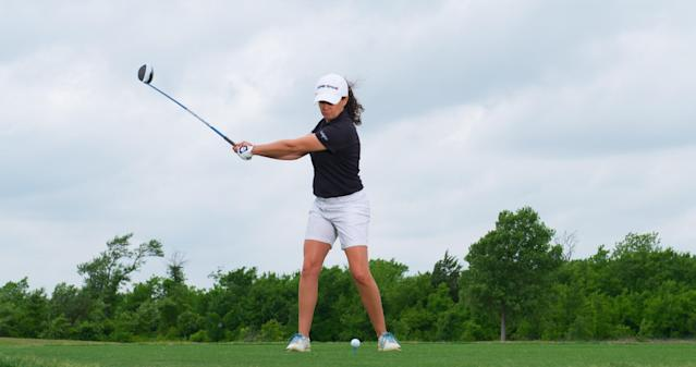 "<p><strong>Feel it right</strong></p> <p>As Martin's torso continues to wind away from the target, she creates an even bigger turn by letting her left knee drift inward and her right hip rotate. The feel for proper loading in the backswing is that the muscles on the inside of the right leg are firing, Triggs says. ""That's how to store power.""</p>"