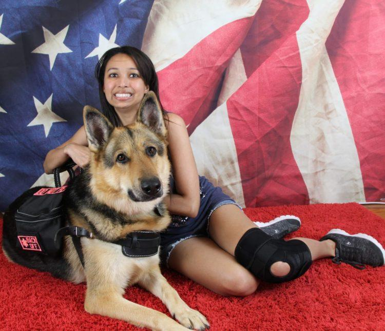 Cecilia K. and her service dog
