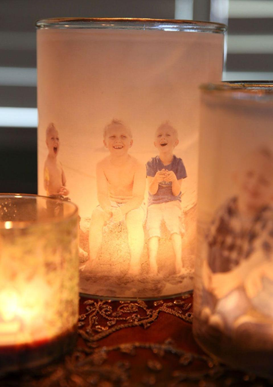 """<p>Surprise mom with these personalized votives that elegantly show off family photos. </p><p><strong>Get the tutorial at <a href=""""http://ourbestbites.com/2013/11/glowing-photo-luminaries/"""" rel=""""nofollow noopener"""" target=""""_blank"""" data-ylk=""""slk:Our Best Bites"""" class=""""link rapid-noclick-resp"""">Our Best Bites</a>.</strong></p>"""