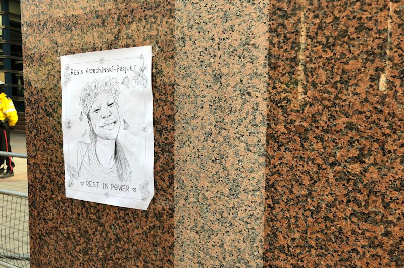 A portrait of Regis Korchinski-Paquet is posted on a wall outside Toronto Police headquarters on May 30, 2020. (Photo: Premila D'Sa/HuffPost Canada)