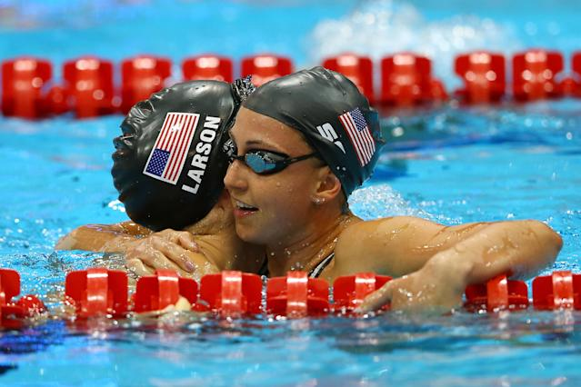 LONDON, ENGLAND - JULY 30: Breeja Larson and Rebbeca Soni of the United States react after they competed in the Final of the Women's 100m Breaststroke on Day 3 of the London 2012 Olympic Games at the Aquatics Centre on July 30, 2012 in London, England. (Photo by Al Bello/Getty Images)