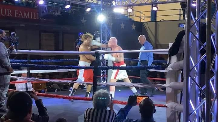 Al Hughes, Jr., is shown in his fight at the Tyndall Armory December, 14, 2019, that set the world record for oldest active male boxer.
