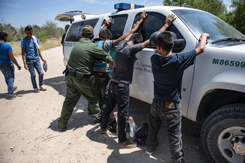Illegal immigrants after being detained by Border Patrol
