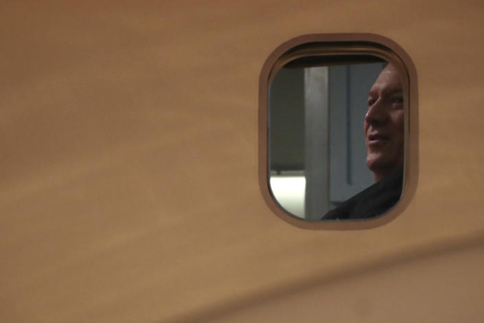 U.S. Secretary of State Mike Pompeo waits to exit his plane upon landing at Sydney Airport in Sydney Saturday, Aug. 3, 2019. (Jonathan Ernst/Pool Photo via AP)