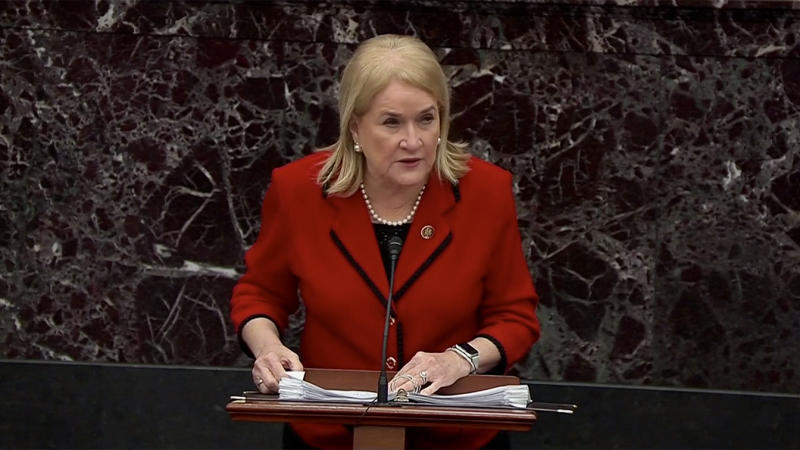 House Manager Rep. Sylvia Garcia speaks on the Senate floor during the impeachment trial for President Donald J. Trump on Jan. 23, 2020 in Washington, DC. (Screengrab: Senate TV via Yahoo News)