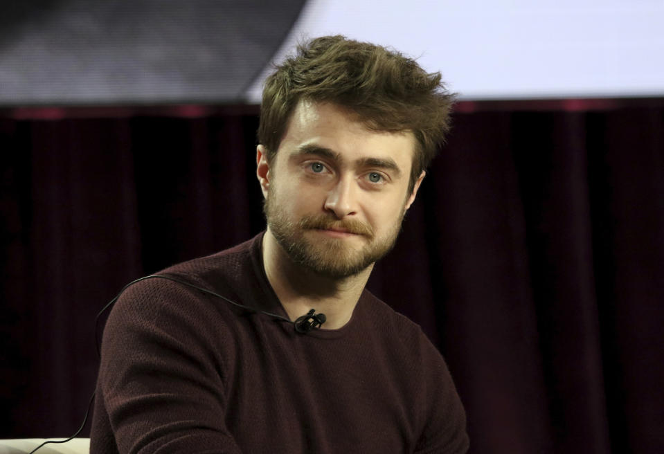 "Daniel Radcliffe participates in the ""Miracle Workers"" panel during the TBS presentation at the Television Critics Association Winter Press Tour at The Langham Huntington on Monday, Feb. 11, 2019, in Pasadena, Calif. (Photo by Willy Sanjuan/Invision/AP)"