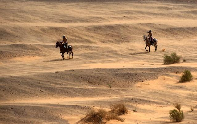 """Riders battle heavy wind during the """"Gallops of Morocco"""" equestrian race in the Sahara desert on March 2, 2018 (AFP Photo/FADEL SENNA)"""