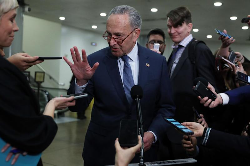 Senate Minority Leader Chuck Schumer speaks to members of the media during a break in the impeachment trial of Donald Trump (Getty Images)