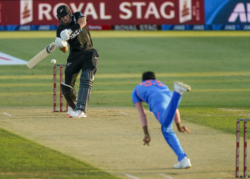 New Zealand's Martin Guptill plays a shot during the One Day cricket international between India and New Zealand at Bay Oval, Tauranga, New Zealand, Tuesday, Feb. 11, 2020. (John Cowpland/Photosport via AP)