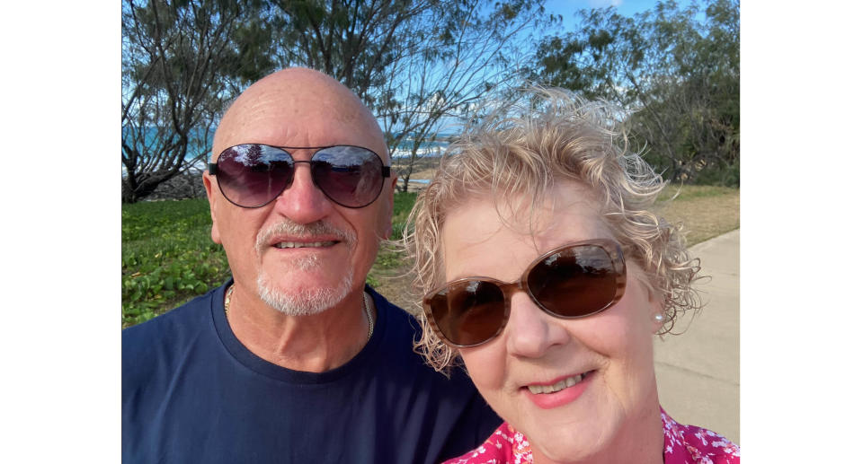 A photo of Ivor and Roz Harris who are stranded in NSW after being refused entry into Queensland to move into their new home. Source: Supplied