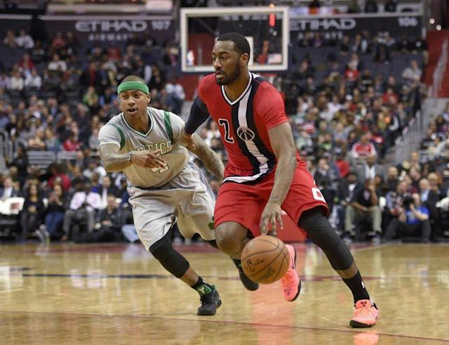 "<a class=""link rapid-noclick-resp"" href=""/nba/players/4716/"" data-ylk=""slk:John Wall"">John Wall</a> and the Wizards were tremendous on Tuesday night. (AP)"