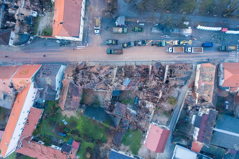 Collapsed buildings are seen after an earthquake in Petrinja