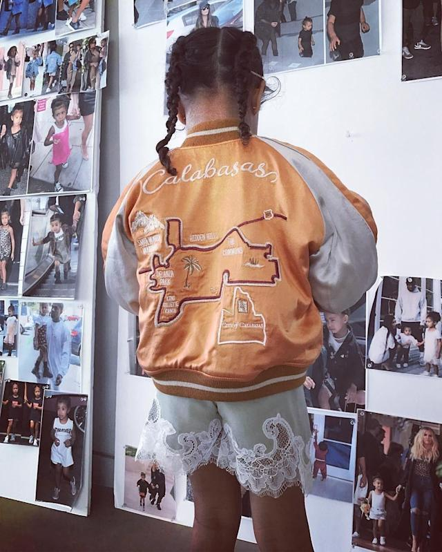 North West wearing a $240 silk jacket, the most expensive item from Kim Kardashian and Kanye West's clothing line, May 2017.