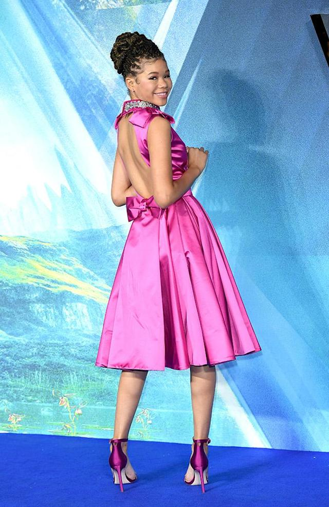 <p>Pink lady! The 14-year-old dazzled in a satin fuschia dress at the European premiere of <em>A Wrinkle In Time</em> at BFI IMAX in London on Tuesday. (Photo: Karwai Tang/WireImage) </p>