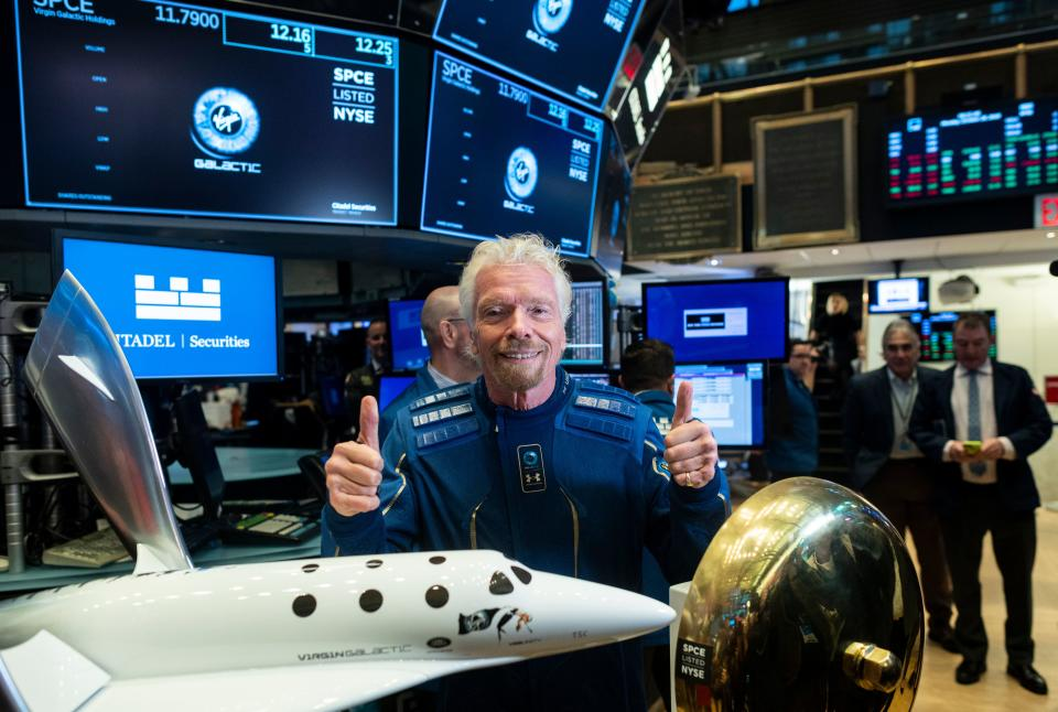 Richard Branson, Founder of Virgin Galactic poses before ringing the First Trade Bell to commemorate the company's first day of trading on the New York Stock Exchange (NYSE) on October 28, 2019 in New York City. (Photo by Johannes EISELE / AFP) (Photo by JOHANNES EISELE/AFP via Getty Images)
