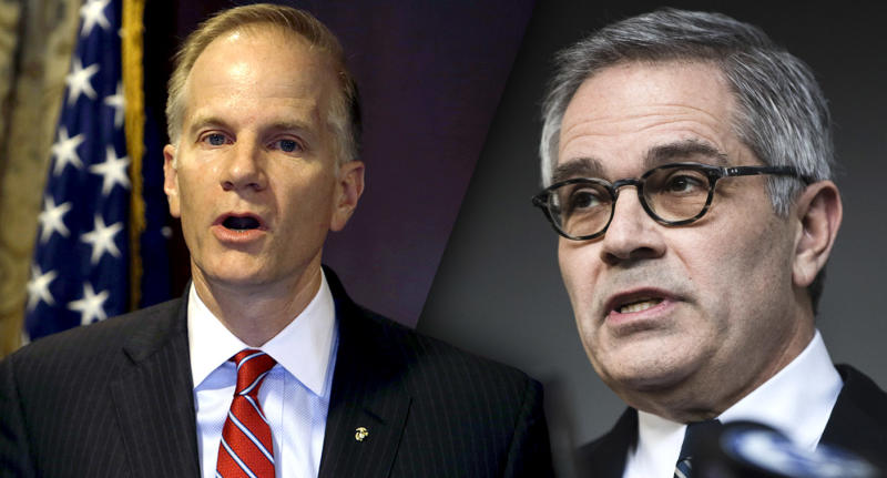 U.S. Attorney William McSwain and Philadelphia District Attorney Larry Krasner. (Photos: Jacqueline Larma/AP, Matt Rourke/AP)