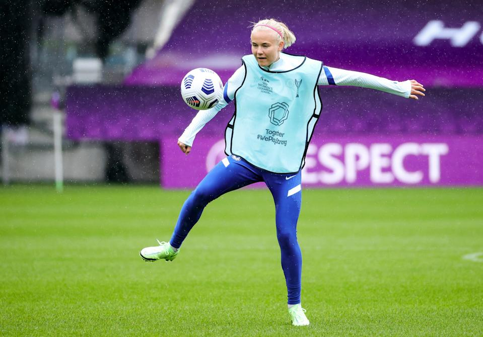 Chelsea's Pernille Harder during a training session in Gothenburg (AP)