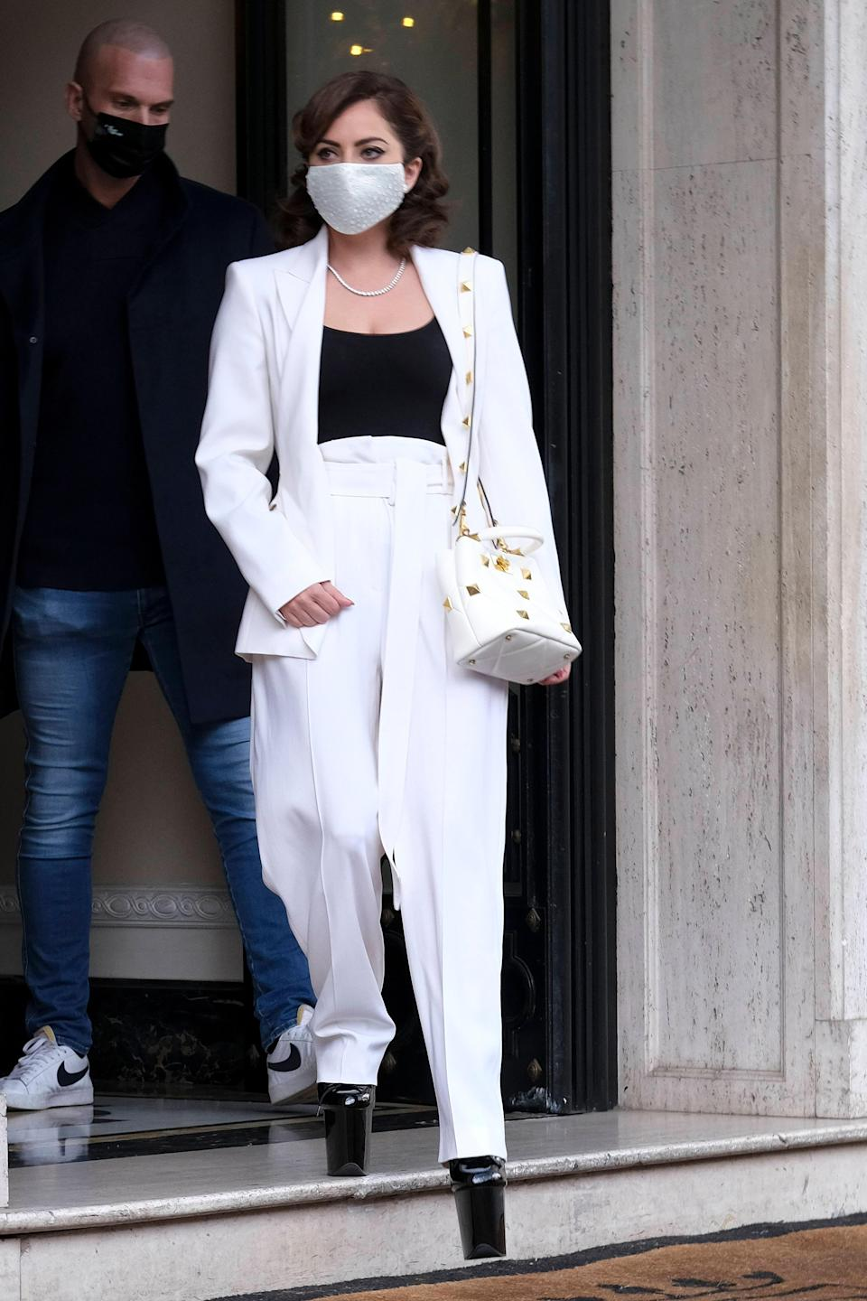 Strutting through Rome while filming her latest movie, it's no surprise Gaga is stunting on Italians like only she can. This outfit might seem normcore from afar but once you see her larger-than-life platforms, you can't unsee them.