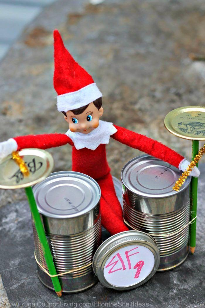 """<p>Even elves have the right to rock! This hilarious idea involves a few cans straight from your pantry, some pipe cleaners, and of course, the star of the show: your family's elf.</p><p><strong>Get the tutorial at <a href=""""https://www.frugalcouponliving.com/elf-on-the-shelf-ideas/"""" rel=""""nofollow noopener"""" target=""""_blank"""" data-ylk=""""slk:Frugal Coupon Living"""" class=""""link rapid-noclick-resp"""">Frugal Coupon Living</a>.</strong></p><p><a class=""""link rapid-noclick-resp"""" href=""""https://www.amazon.com/Del-Monte-Mandarin-Oranges-Light/dp/B07JVVRVRH?tag=syn-yahoo-20&ascsubtag=%5Bartid%7C10050.g.22690552%5Bsrc%7Cyahoo-us"""" rel=""""nofollow noopener"""" target=""""_blank"""" data-ylk=""""slk:SHOP CANS"""">SHOP CANS </a></p>"""