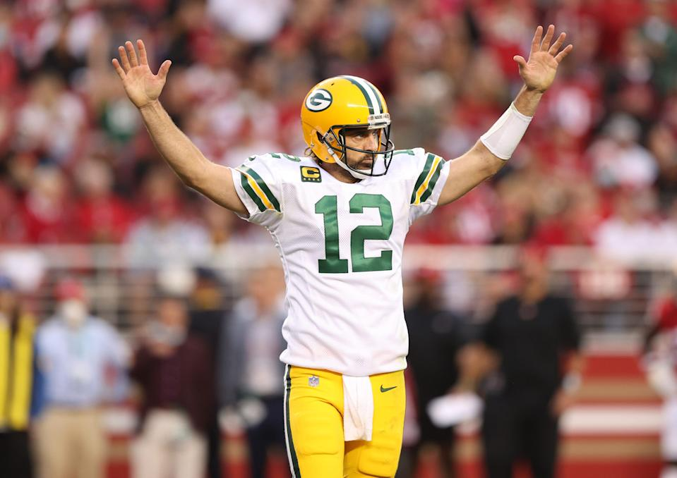 Aaron Rodgers #12 of the Green Bay Packers celebrates after a touchdown during the second quarter against the San Francisco 49ers in the game at Levi's Stadium on September 26, 2021 in Santa Clara, California.