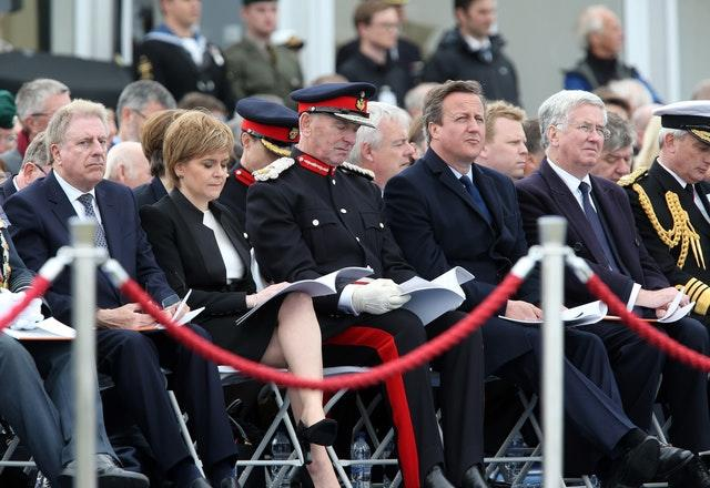 (Centre to right) First Minister Nicola Sturgeon, Lord-Lieutenant of Orkney Bill Spence, former prime minister David Cameron and former defence secretary Michael Fallon attend a service at Lyness Cemetery on the island of Hoy, Orkney, to mark the centenary of the Battle of Jutland in 2016