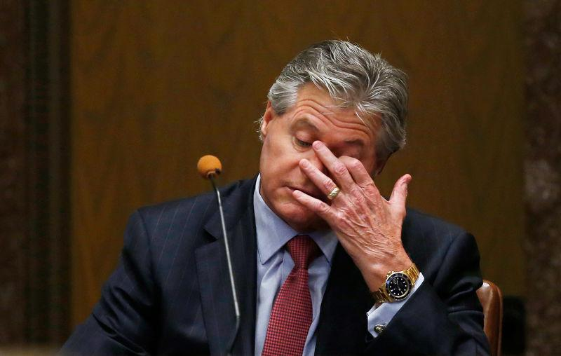 Craig Box, whoses on Austin Box died of an opioid overdose, pauses during testimony during the second day of a trial of Johnson & Johnson over claims they engaged in deceptive marketing that contributed to the national opioid epidemic in Norman