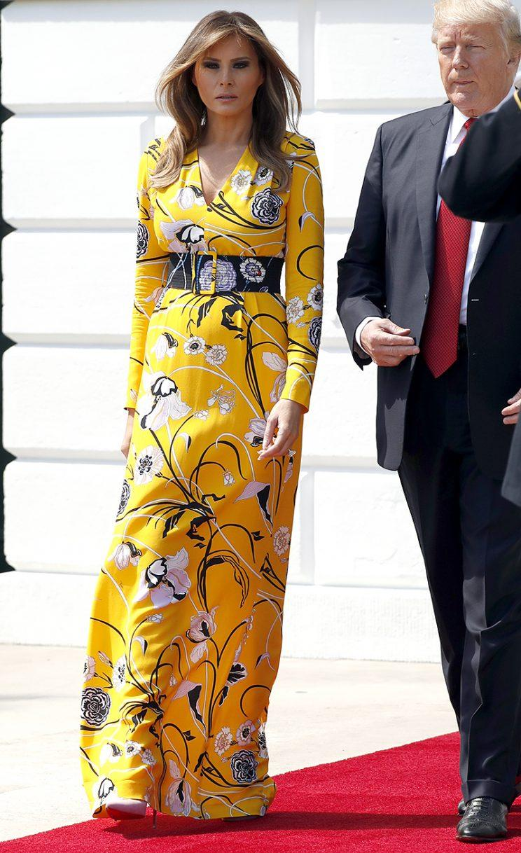 Melania Trump pops in yellow Pucci.
