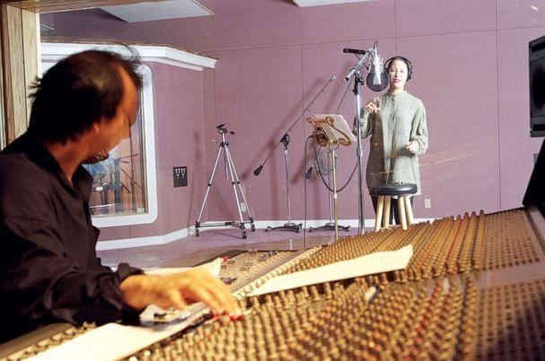PHOTO: Selena records the vocals for 'Dreaming of You' in studio in Corpus Christi, Texas on March 7, 1995. The song was to be included on her first album in English. (Paul S. Howell/Houston Chronicle via AP, FILE)