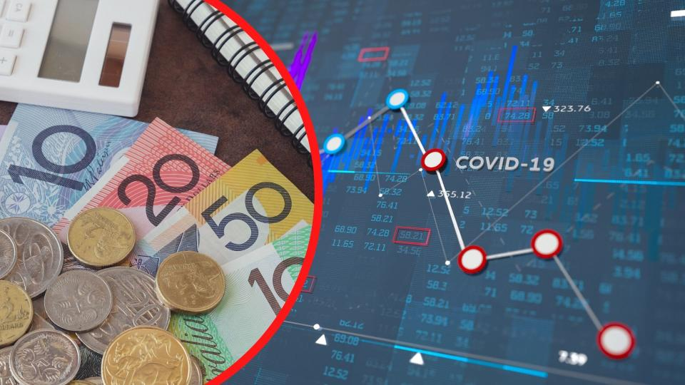 Pictured: Australian cash, Covid-19 stock chart suggesting superannuation losses. Images: Getty