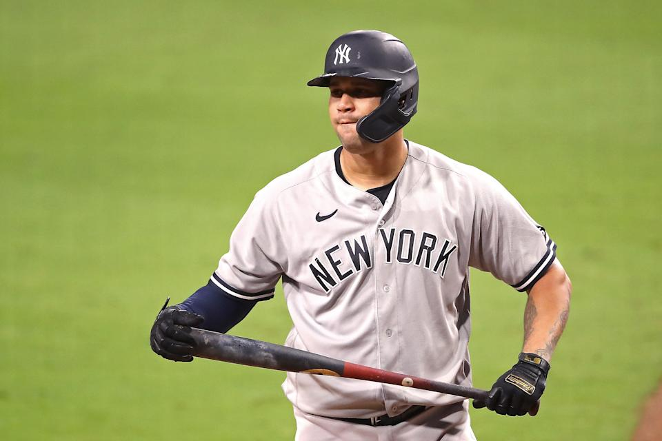 SAN DIEGO, CALIFORNIA - OCTOBER 06:  Gary Sanchez #24 of the New York Yankees reacts after striking out against the Tampa Bay Rays during the ninth inning in Game Two of the American League Division Series at PETCO Park on October 06, 2020 in San Diego, California. (Photo by Sean M. Haffey/Getty Images)
