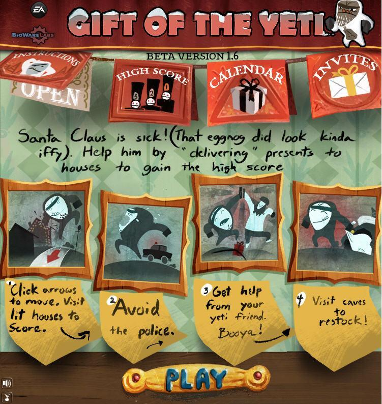 gift of the yeti game on facebook from bioware