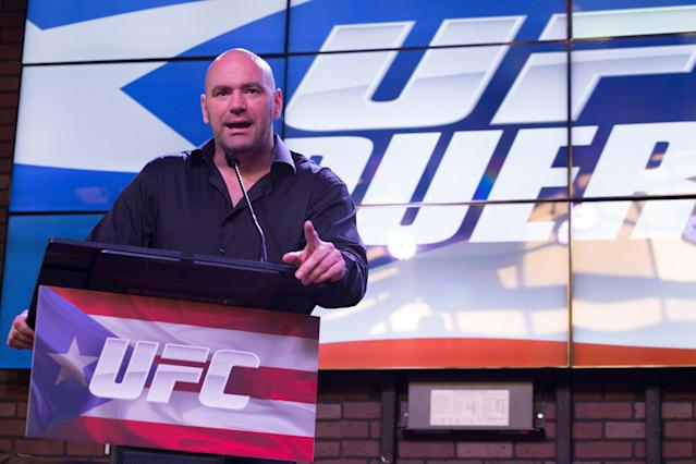 SAN JUAN, PUERTO RICO - MARCH 26: Dana White, President and CEO of the UFC, addresses the audience during a press conference in San Juan Puerto Rico to promote the sport on the island on March 26, 2014 in San Juan, Puerto Rico. (Photo by Angel Valentin/Getty Images)