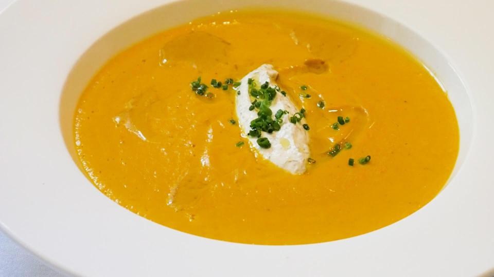 """<p>This roasted squash soup is great as an appetizer or a main dish. <a href=""""https://www.thedailymeal.com/recipes/brown-bread-recipe-5?referrer=yahoo&category=beauty_food&include_utm=1&utm_medium=referral&utm_source=yahoo&utm_campaign=feed"""" rel=""""nofollow noopener"""" target=""""_blank"""" data-ylk=""""slk:Serve with some crusty bread"""" class=""""link rapid-noclick-resp"""">Serve with some crusty bread</a>, dip and enjoy.</p> <p><a href=""""https://www.thedailymeal.com/recipes/roasted-kabocha-squash-soup-recipe?referrer=yahoo&category=beauty_food&include_utm=1&utm_medium=referral&utm_source=yahoo&utm_campaign=feed"""" rel=""""nofollow noopener"""" target=""""_blank"""" data-ylk=""""slk:For the Roasted Kabocha Squash Soup recipe, click here."""" class=""""link rapid-noclick-resp"""">For the Roasted Kabocha Squash Soup recipe, click here.</a></p>"""
