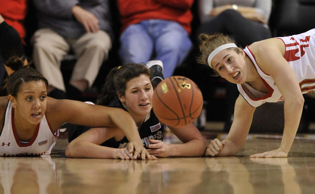 Maryland's Malina Howard, left, Katie Rutan, right, and Wake Forest's Jill Brunori, center, reach for a loose ball in the first half of an NCAA college basketball game on Thursday, Jan 9, 2014, in College Park, Md. (AP Photo/Gail Burton)