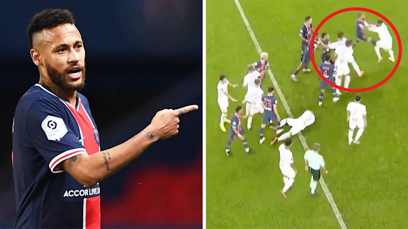 Neymar (pictured left) pointing and talking to an official and a wild brawl (pictured right) between Marseille and PSG players.