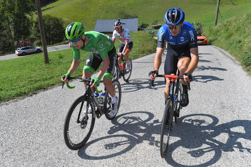 LA ROCHESURFORON FRANCE  SEPTEMBER 17 Sam Bennett of Ireland and Team Deceuninck  QuickStep Green Points Jersey  Max Walscheid of Germany and NTT Pro Cycling Team  during the 107th Tour de France 2020 Stage 18 a 175km stage from Mribel to La Roche sur Foron 543m  TDF2020  LeTour  on September 17 2020 in La RochesurForon France Photo by Tim de WaeleGetty Images