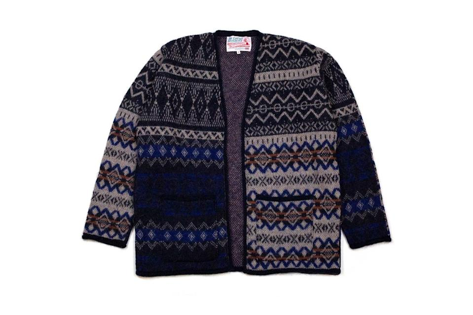 """$298, Lost & Found. <a href=""""https://shoplostfound.com/collections/new-arrivals/products/garbstore-the-english-difference-mohair-fair-isle-kimono-tan"""" rel=""""nofollow noopener"""" target=""""_blank"""" data-ylk=""""slk:Get it now!"""" class=""""link rapid-noclick-resp"""">Get it now!</a>"""
