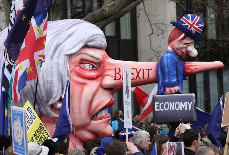 Demonstrators are marching in support of a further Brexit referendum.