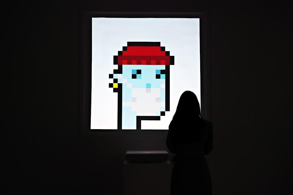 NEW YORK, NEW YORK - JUNE 04: An NFT titled 'CryptoPunk 7523' by Larva Labs is on display during a press preview of the upcoming Natively Digital: A Curated NFT Sale at Sotheby's on June 04, 2021 in New York City. 2 (Photo by Cindy Ord/Getty Images)