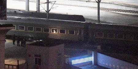 A train believed to be carrying North Korean leader Kim Jong Un leaves from a train station in the Chinese border city of Dandong, China in this photo taken by Kyodo on February 23, 2019. Mandatory credit Kyodo/via REUTERS