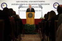 "U.S. Secretary of State Mike Pompeo delivers his speech during the ""Advancing and Defending International Religious Freedom Through Diplomacy"" symposium, in Rome, Wednesday, Sept. 30, 2020. (Guglielmo Mangiapane/Pool Photo via AP)"