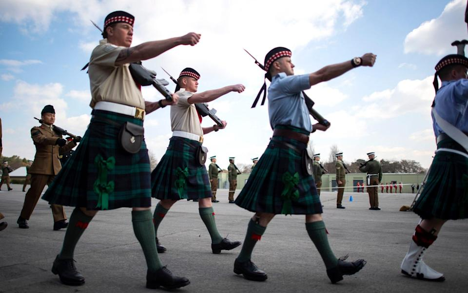 Soldiers from the Royal Regiment of Scotland 4 Scots (the Highlanders) - PA