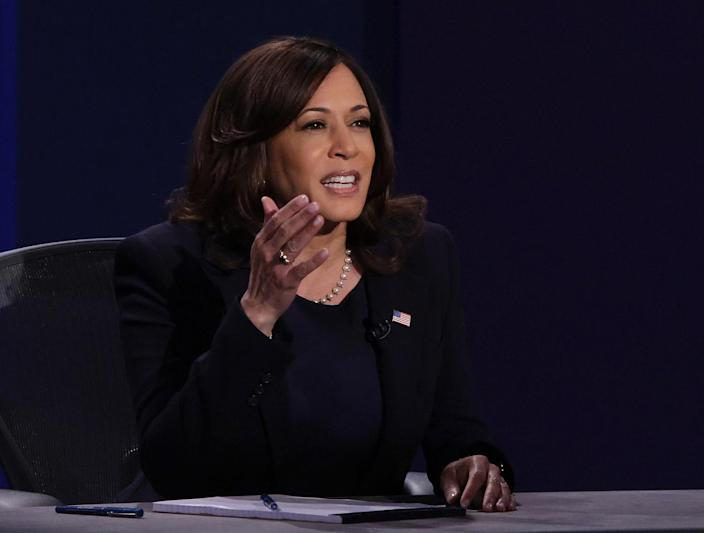 """<p>In Salt Lake City in October 2020, Harris <a href=""""https://people.com/politics/kamala-harris-mike-pence-vice-presidential-debate/"""" rel=""""nofollow noopener"""" target=""""_blank"""" data-ylk=""""slk:debated Vice President Mike Pence."""" class=""""link rapid-noclick-resp"""">debated Vice President Mike Pence. </a>The two discussed everything from the handling of the COVID-19 pandemic to the Affordable Care Act. </p> <p>Harris <a href=""""https://people.com/politics/kamala-harris-saw-fly-on-mike-pence-head-during-debate/"""" rel=""""nofollow noopener"""" target=""""_blank"""" data-ylk=""""slk:went viral during the debate"""" class=""""link rapid-noclick-resp"""">went viral during the debate</a> when she was interrupted by Pence and responded, """"Mr. Vice President, I'm speaking."""" </p>"""