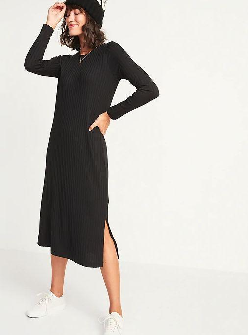 """This Rib-Knit Long-Sleeve Midi Shift Dress for Women is available in sizes XS to XL and two colors. <a href=""""https://fave.co/3niYcRV"""" target=""""_blank"""" rel=""""noopener noreferrer"""">Get it on sale for 50% off (normally $40) at Old Navy</a>."""