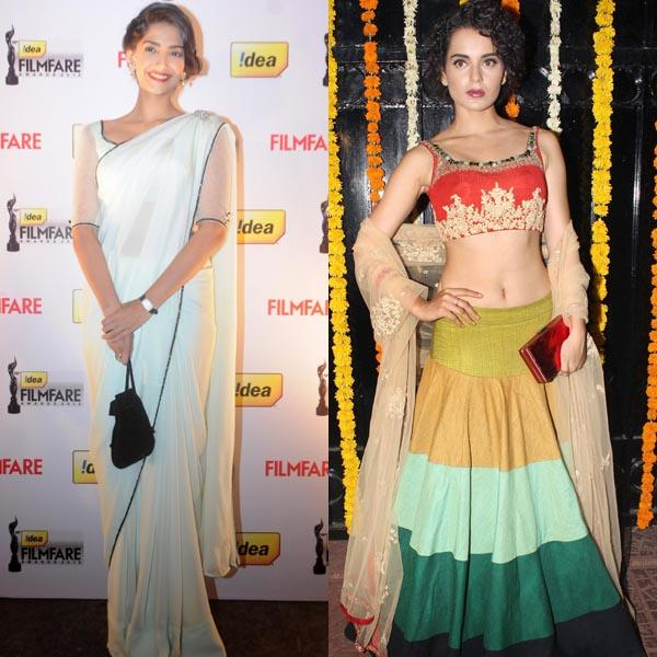 It's like Sonam was born with the style gene as we've seen her carry herself with grace and panache on several red carpet events around the world but one can't ignore how Kangana has groomed herself and it seems she's a natural at style.